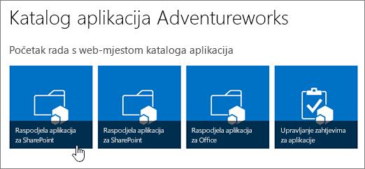 Početak rada s pločica kataloga aplikacija s distribuiranje aplikacija za SharePoint istaknut.