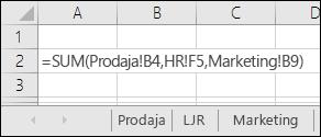 Referenca za formule na više lista u programu Excel