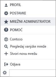 Snimka zaslona izbornika postavke s administratorskim mreže istaknuta