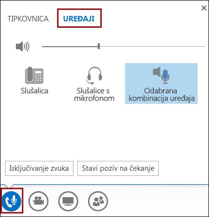 Promjena audiouređaja u programu Lync
