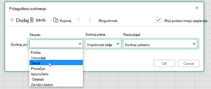 Odabir stupca u prilagođenom dijaloškom okviru za sortiranje