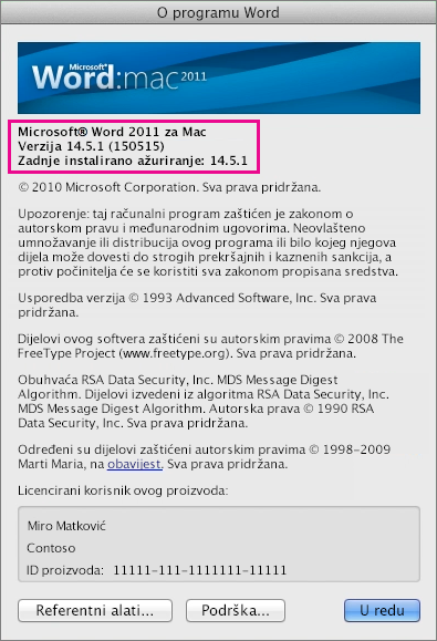 Word za Mac 2011 s prikazanom stranicom O programu Word
