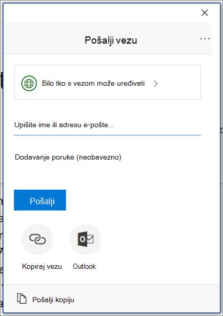 Ikona i dijaloški okvir Zajedničko korištenje