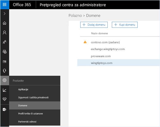 Snimka zaslona koja prikazuje centar za administratore sustava Office 365 s odabranom mogućnošću Domene. Nazivi domena prikazani su na stranici s mogućnošću dodavanja ili kupnje domene.