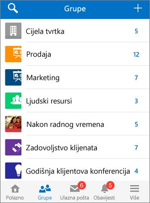 Snimka zaslona s grupama u mobilnoj aplikaciji Yammer