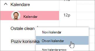 Snimka zaslona s mogućnošću otvorenog kalendara