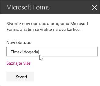 Ploča web-dijela servisa Microsoft Forms za novi obrazac.