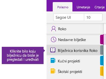Snimka zaslona s prikazom popisa Bilježnice u programu OneNote