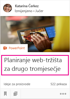 Naslov dokumenta koji se prikazuje na kartici sadržaja