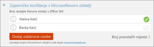 """Snimka zaslona krupnom odjeljka """"Zajedničko korištenje s vašeg Microsoftova Obitelj"""" dijaloškog okvira """"Dodavanje osobe"""" s gumbom """"Dodaj odabrane osobe""""."""