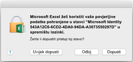 Upit za privjesak za ključeve u sustavu Office 2016 za Mac