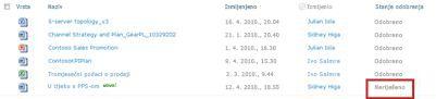 Biblioteka sustava SharePoint s datotekom koja je u redu čekanja za odobrenje