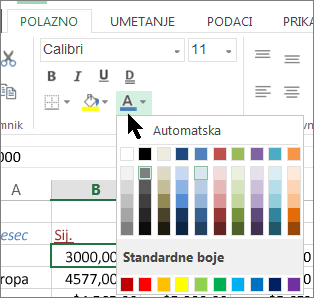 Odabir druge boje teksta