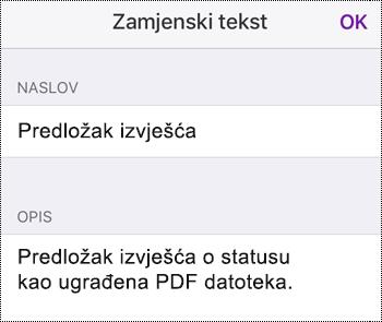 Dodavanje zamjenskog teksta u ugrađenu datoteku u aplikaciji OneNote za iOS