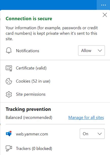 Snimka zaslona s prikazom postavki preglednika za dopuštanje obavijesti na radnoj površini