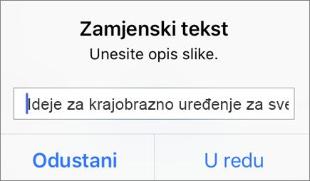 Izbornik zamjenskog teksta za sliku u aplikaciji Outlook za iOS