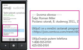 Snimka zaslona s telefonskim brojem dolaznog poziva i gumbom za odgovaranje na mobilnom klijentu za Lync