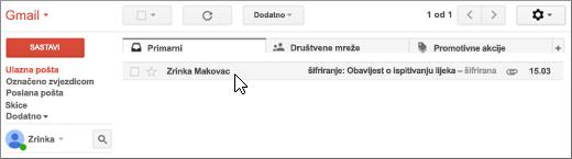 Ulazna pošta sa šifriranom porukom