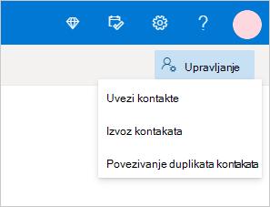 Izbornik upravljanje kontaktima u programu Outlook.com