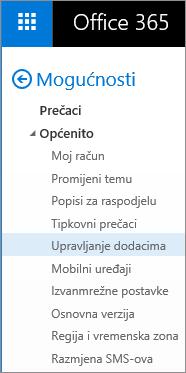 """Snimka zaslona odjeljka Općenito na izborniku Mogućnosti u programu Outlook, uz istaknutu mogućnost """"Upravljanje dodacima""""."""