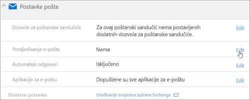 Snimka zaslona: Odaberite Uređivanje da biste konfigurirali prosljeđivanja e-pošte