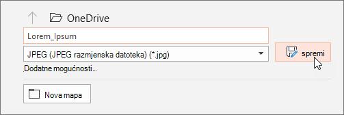 U dijaloškom okviru Spremanje u obliku odredite vrstu datoteke koju želite spremiti na slajdu.