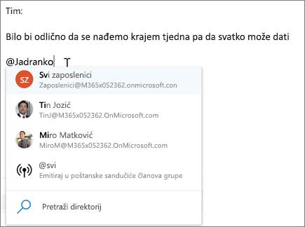 @spominjanja u aplikaciji Outlook na webu
