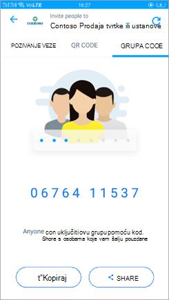 Snimka zaslona s šifrom grupe u programu Kaizala