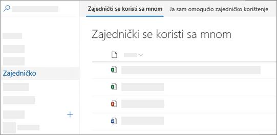 Snimka zaslona zajednički se koristi sa mnom vidjeti na servisu OneDrive za tvrtke na Internetu
