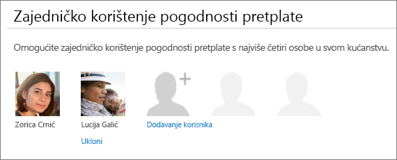 Zajedničko korištenje svoje pretplate pogodnosti dio na stranici zajedničko korištenje sustava Office 365 koja prikazuje vezu Ukloni veza u odjeljku korisničke sliku.
