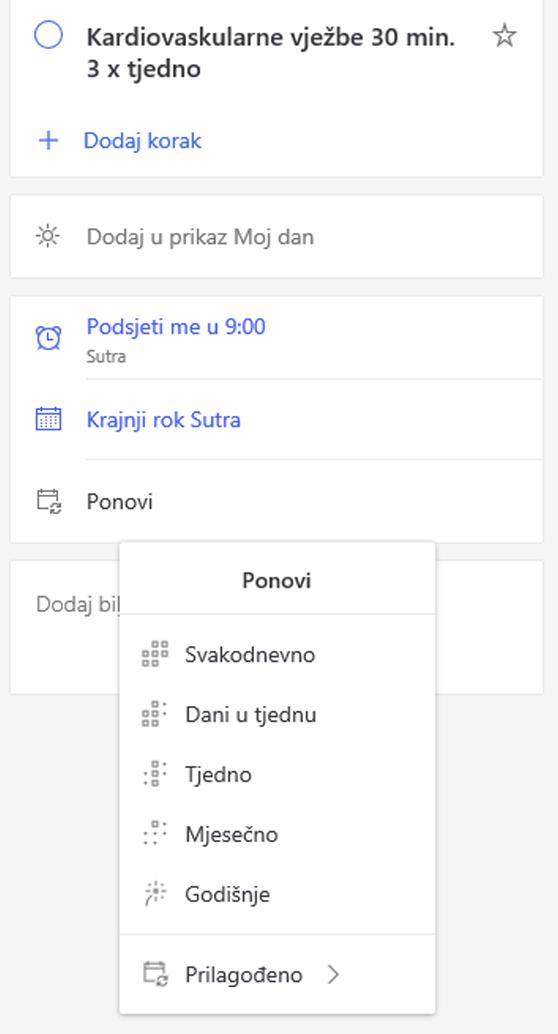 Snimka zaslona s prikazom prikaza detalja s Ponavljajte odabranih