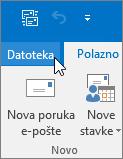 Snimka zaslona izbornika Datoteka u programu Outlook 2016