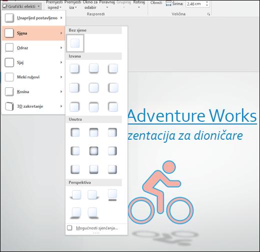 Dodavanje efekti poput Padajuće sjene na grafici SVG pomoću alata za grafički efekti