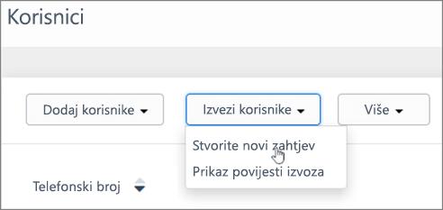 Snimka zaslona: Stvorite novi zahtjev za izvoz Kaizala korisnika