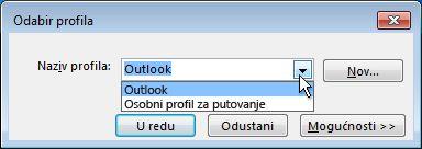 dijaloški okvir odabir profila programa outlook