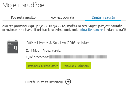 Prikazuje digitalnu narudžbu sustava Office, ključ proizvoda za njega te gumbe za instalaciju sustava Office i upravljanje Microsoftovim računom.