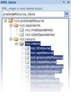Mapiranje datoteke sheme inopath u programu excel