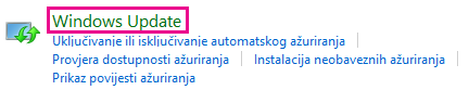 Veza na Windows Update na upravljačkoj ploči sustava Windows 8