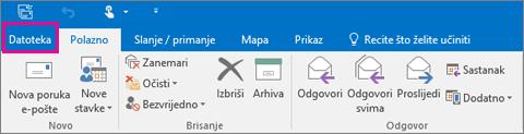 Ovako izgleda vrpca u programu Outlook 2016.