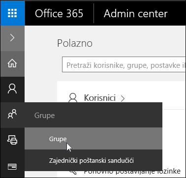 Odabir grupa u oknu navigacijskog okna s lijevom tipkom za pristup grupama u programu Office 365