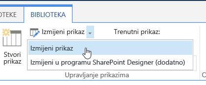 Slika gumba s Izmijeni prikaz istaknuta