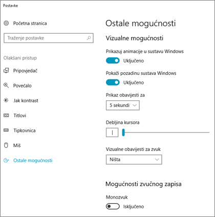 Okno Olakšani pristup, Ostale mogućnosti u postavkama sustava Windows 10