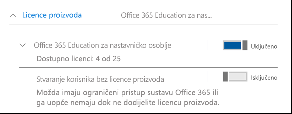 Snimka zaslona Dodavanje korisnika u sustavu Office 365, prikazom prošireno odjeljka licencu za proizvod.