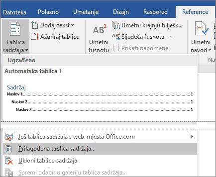 Mogućnost Prilagođena tablica sadržaja prikazuje se na izborniku Tablica sadržaja.