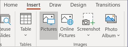 Na kartici Umetanje kliknite Slike.
