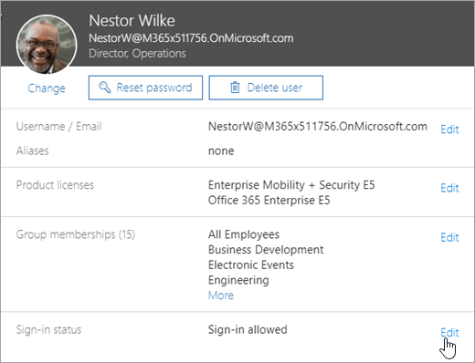 Snimka zaslona s korisnicima statusa prijave u sustavu Office 365