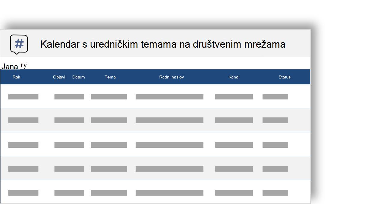Konceptualna slika kalendara Lektorsko teme za društvene mreže