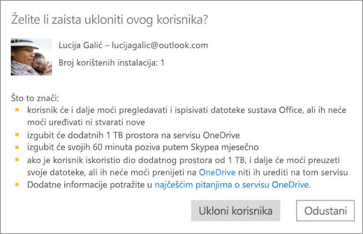 Snimka zaslona dijaloški okvir za potvrdu kada uklonite korisnika iz pretplate na Office 365 Home.