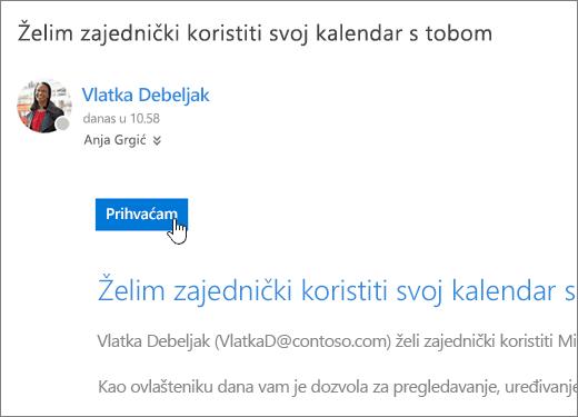 Snimka zaslona pozivnice za zajednički kalendar.