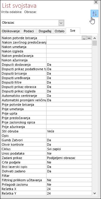 Snimka zaslona s prikazom lista svojstava programa Access s abecedno sortiranim svojstvima
